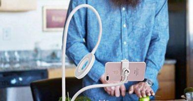 Двойной держатель для телефона со встроенным LED-кольцом