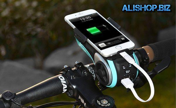 Велосипедная BT-колонка с креплением для телефона, фарой и видеорегистратором