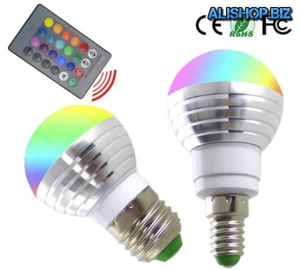 Лампочки E27/E14 с пультом управления цветом