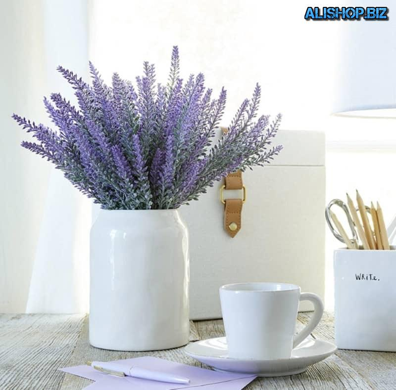 A bouquet of artificial lavender