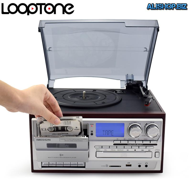 Player for vinyl, CDs, tapes, supports bluetooth, USB drive, SD card, AUX.