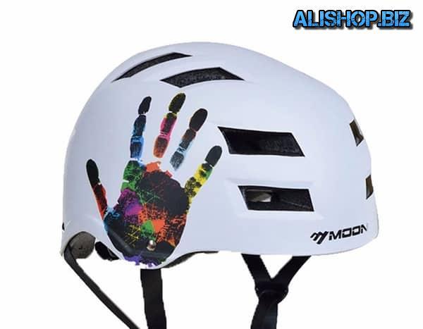 Moon helmet with handprint
