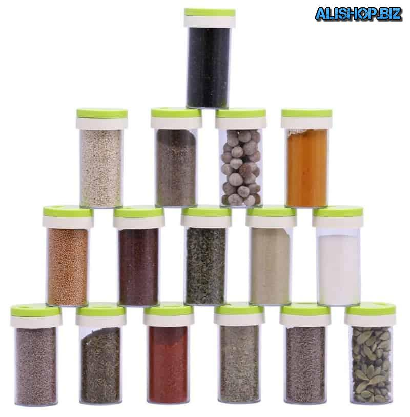 Storage rack jars with spices