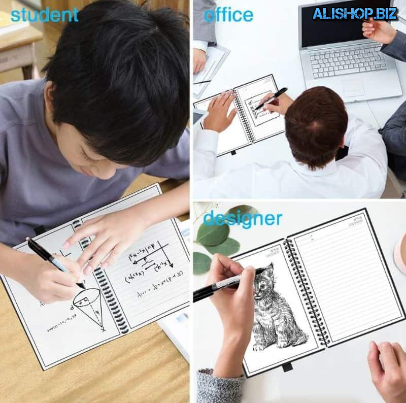 Refillable notebook with erasable pages