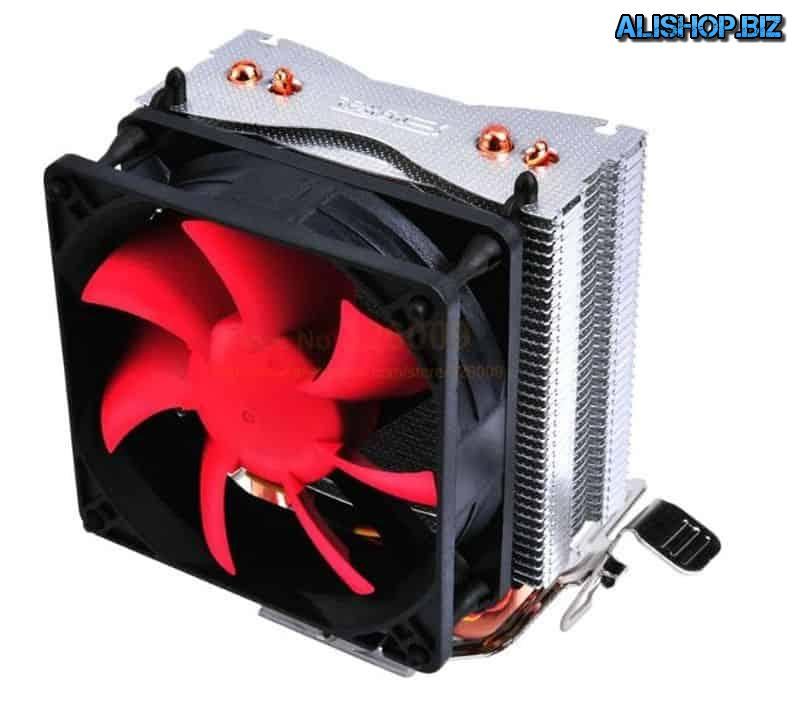 CPU cooler with 2 heat pipes