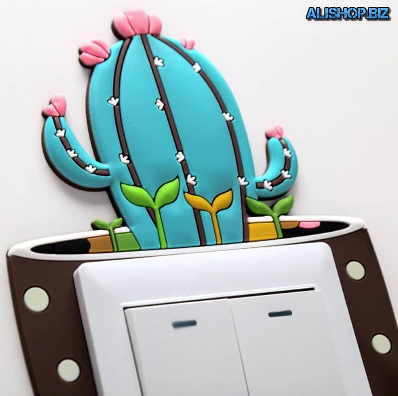 Декоративная накладка на выключатель «Светящийся кактус»